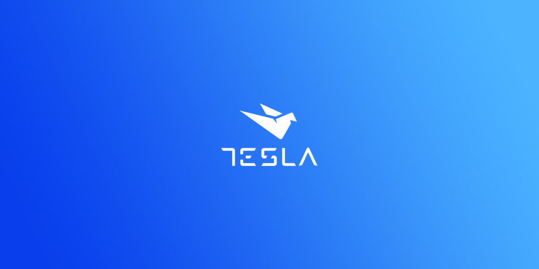 Tesla visual identity - logotype on blue